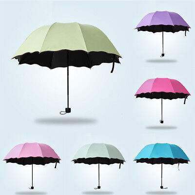 Women Parasol Flower Anti-UV 3 Folding Sun Rain Umbrella Windproof Gift Eyeful