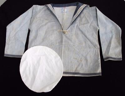 "Antique Edwardian Young Boys ""Rowe"" Naval Navy Sailor Suit Shirt & Cap c1910"