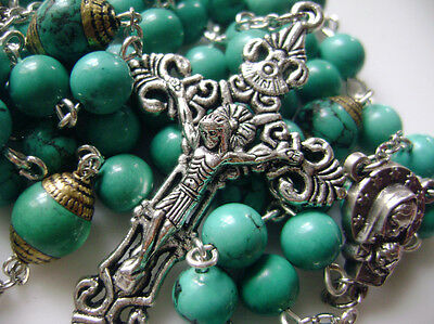 RARE Precious Turquoise BEADS VINTAGE CRUCIFIX CATHOLIC NECKLACE ROSARY CROSS