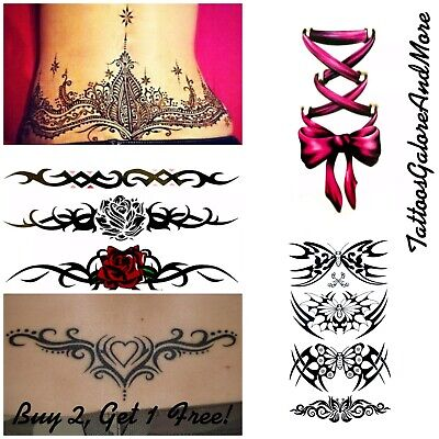 Lower Back Temporary Tattoos, Five Styles, Tribal, Butterflies, Wing Tattoos