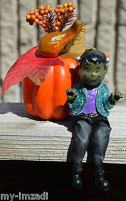 Custom Painted Dark Olive CUTE HALLOWEEN FRANKENSTEIN CHILD Shelf Sitter Figure