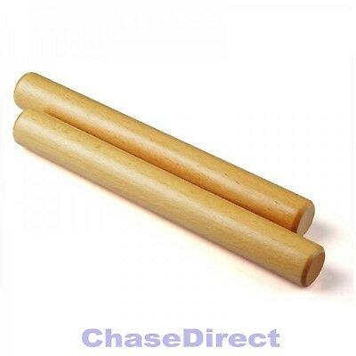Chase Wooden Claves Latin Percussion Pair Wood Block Sticks Cuban Rhythm