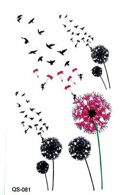 Small Dandelion & Birds Tattoo, Henna Flower Temporary Tattoo. Buy 2 Get 1 Free!