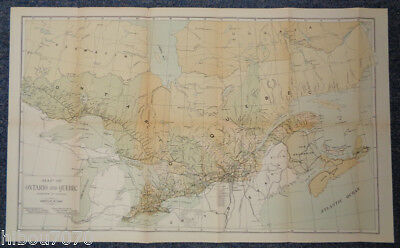 """1900 27"""" x 16.5"""" Color Map of Ontario and Quebec (Dominion of Canada)"""
