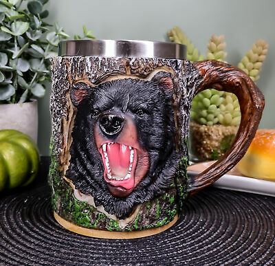 Nature Wildlife Roaring Black Bear Coffee Mug With Rustic Tree Bark Design 12oz