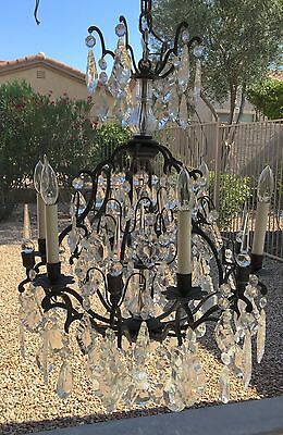 Vtg Antique Italian French Bronze Crystal Prism SPIRE Birdcage CHANDELIER Light