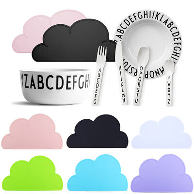 2017 Baby Kids Silicone Cloud Shaped Kitchen Placemat Pad Dining Table Mat #US