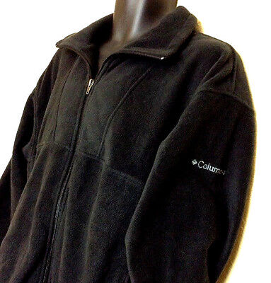 COLUMBIA SPORTSWEAR JACKET SOLID BLACK POLYESTER FLEECE FULL ZIP UP Men's L _H12