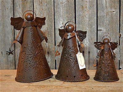 Set 3 Rustic Primitive Metal Punched Tin Christmas Angel Candle Holders NWT