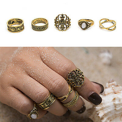 1set Boho Retro Hollow Flower Finger Knuckle Rings  Rings Lucky Stackable New