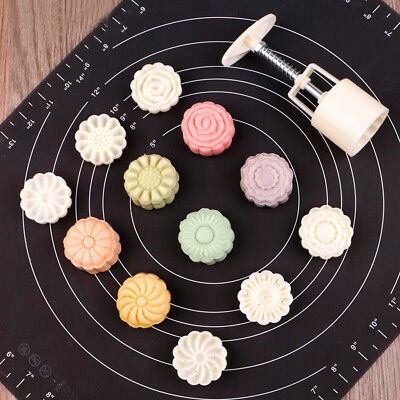2017 White Mooncake Decor Set 6 Style Stamps Flower Cake Mold DIY Mould Tool #WO
