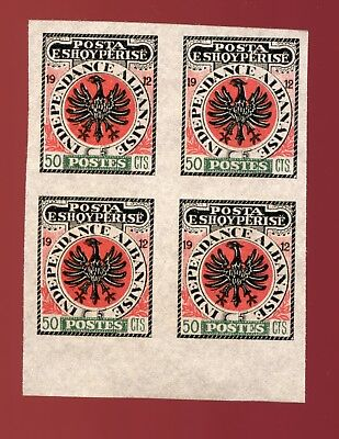 ALBANIA 1912 INDEPENDENCE LOCAL Mint IMPERF BLOCK of 4 Stamps