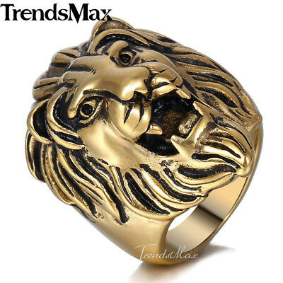 Mens Boys 316L Stainless Steel Gold Tone Roaring  King Punk Ring