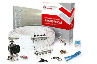 Low profile single room water underfloor heating kit - all sizes in this listing
