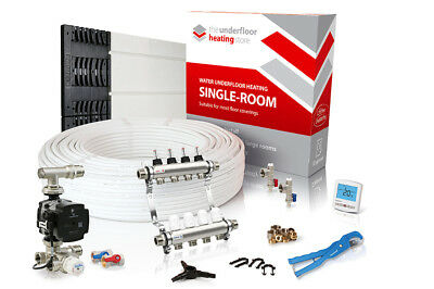 Low profile overlay single room water underfloor heating kit - all sizes