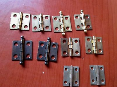 Lot of 5 Pair Brass Plated Hinges for Clock Doors (142D)