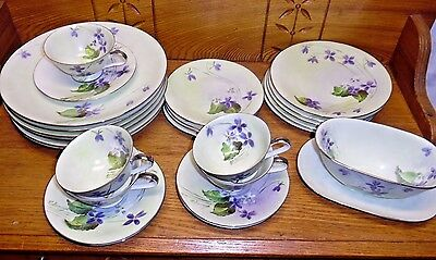 H&Co Heinrich Bavaria Germany Hand Painted Partial Dinner Set - Purple Flowers