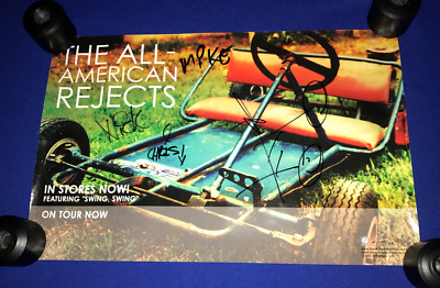 T HAND SIGNED All American Rejects PROMO POSTER Triple Crown ALL 4 MEMBERS 11X17