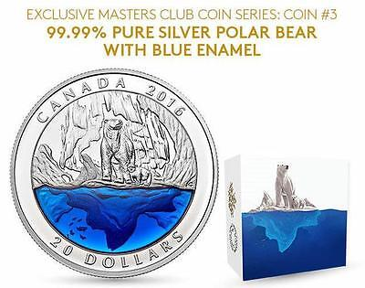 Canada - 2016 Polar Bear with Blue Enamel - $20 Pure Silver Master Club Coin #3