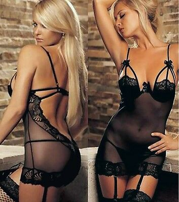 Set mini robe de nuit lingerie + string taille M / Hot sexy sleepwear & string