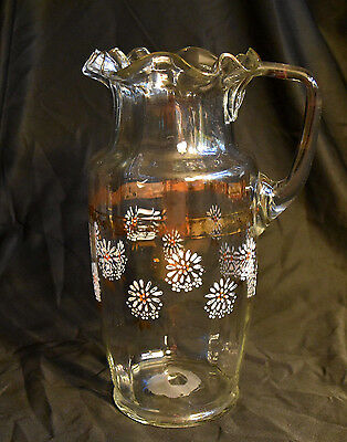 Victorian Art Glass Ruffled Tall Pitcher Enameled Flowers Ribbed Optic Antique