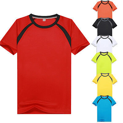 Quick Dry Mens Stretch Sport Gym Cycling T-Shirt Short Sleeve Tee Breathable CH