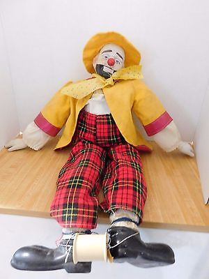 "Vintage Porcelain 24"" Clown Doll"
