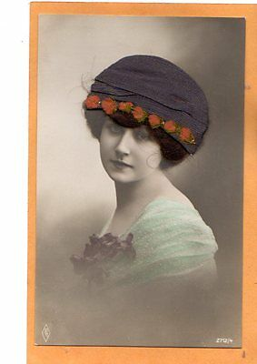 Novelty Real Photo Postcard RPPC - Beautiful Woman with Add-On Hat and Hair