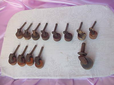 Antique Collection Lot Of Wood Wheel Casters Cabinet Furniture Hardware Vintage