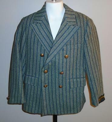 BOY'S VTG 1970s BLAZER SUIT JACKET BLUE STRIPES GRAY & GREEN PATTERN SIZE 8 NWT