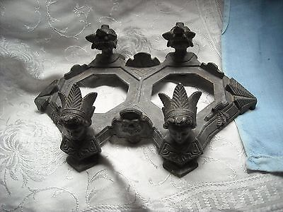vintage old antique cast metal head dresses ink well holder? very cool