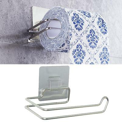 Self Adhesive Wall Mount Bath Stainless Steel Toilet Paper Roll Holder storage~~