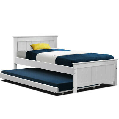 KING SINGLE Wooden Bed Frame Trundle Timber Daybed Teenager Kid Solid Pine