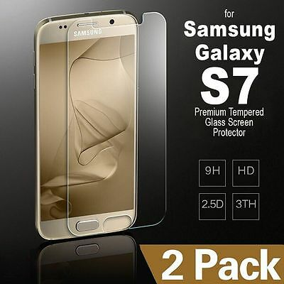 2pcs Premium Tempered Glass Film Screen Protector For Samsung Galaxy S7 BW