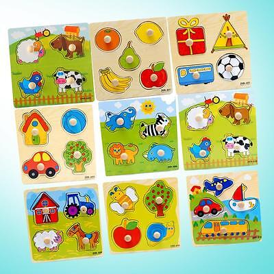 Baby Toddler Intelligence Development Animal Wooden Brick Puzzle Toy Classic Fun