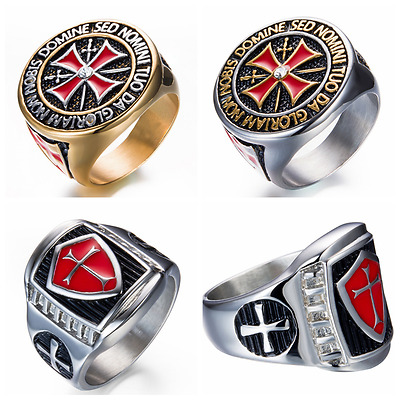 Retro 316L Titanium Steel crusader knights templar ring ,7~14#