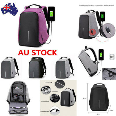 Anti-Theft WaterProof Laptop Backpack USB Port School Travel Sport Shoulder Bag
