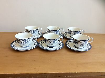 Vintage Blue & White Tea Cups & Saucers - Queens - The Royal Palaces - Hrp