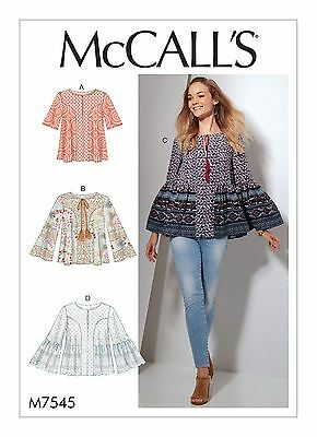 McCalls SEWING PATTERN M7545 Misses Tops 6-14 Or 14-22