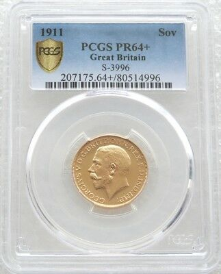 1911 George V Bare Head Coronation Gold Proof Full Sovereign Coin PCGS PR64 +
