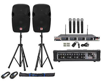 """(2) Rockville SPGN124 12"""" 2400w DJ PA Speakers+Amp+(4) Mics+Stands+Cables+Bag"""