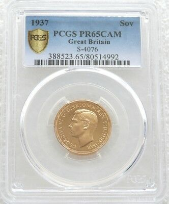 1937 George VI Coronation Gold Proof Full Sovereign Coin PCGS PR65 CAM