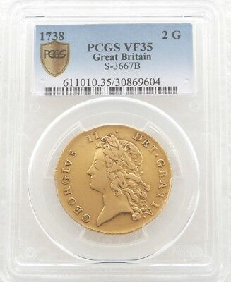 1738 British King George II Shield Two Guinea Gold Coin PCGS VF35