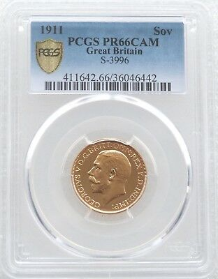 1911 George V Bare Head Coronation Gold Proof Full Sovereign Coin PCGS PR66 CAM
