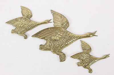 3 Brass Flying Geese Vintage Wall Decor Matching Set Goose In Flight Birds