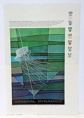 1957 Erik Nitsche Art General Dynamics Universe Sea Ocean Jellyfish Print Ad