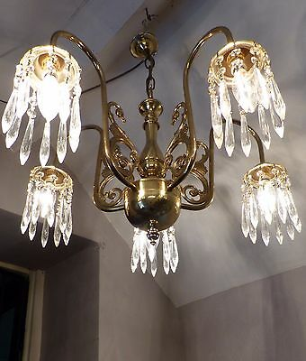 Vintage French Shiny Polished Brass Down Light Chandelier Icicles 2 Available