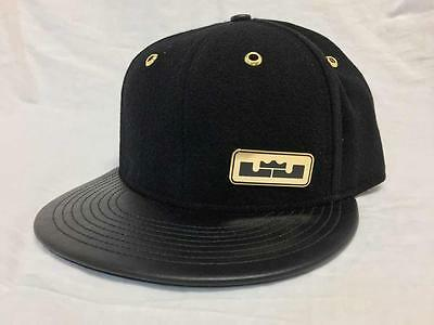 Nike LeBron Leather Bill and Buckel Wool Hat 805062-010 Black