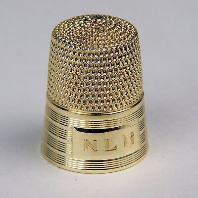 "Early 20th Century Thimble ""NLB"" 14 kt Yellow Gold #7592"