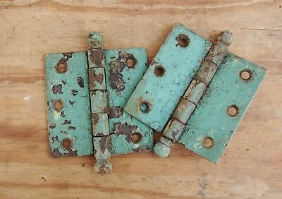 "Door/ Cabinet Hinge Pair Set 2 Each Antique Vintage Hardware 5"" x 3 1/2"" Steel"